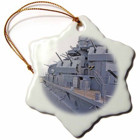 3dRose USS Alabama Battleship Memorial Park Mobile Alabama - US01 MGI0027 - Mark Gibson, Snowflake Ornament, Porcelain, 3-inch