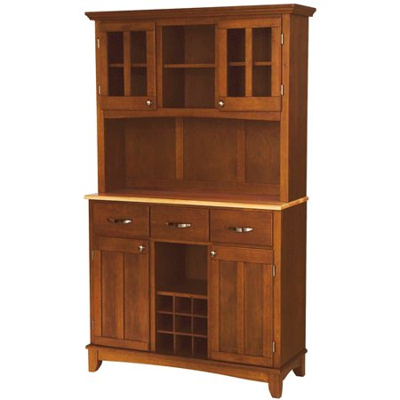 Home Styles Large Buffet With Two Glass Door Hutch Cottage Oak With Natural Top