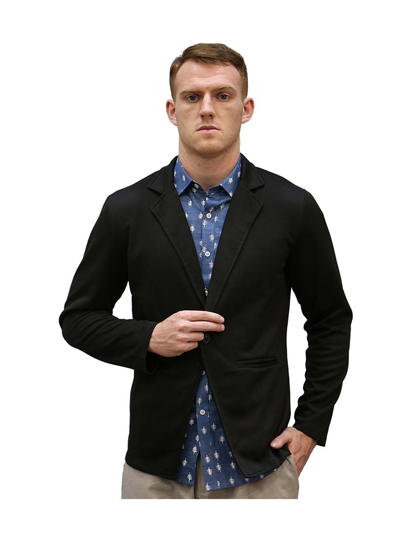 Azzuro Men's Nocth Lapel One Button Slim Blazer Black (Size S / 36)