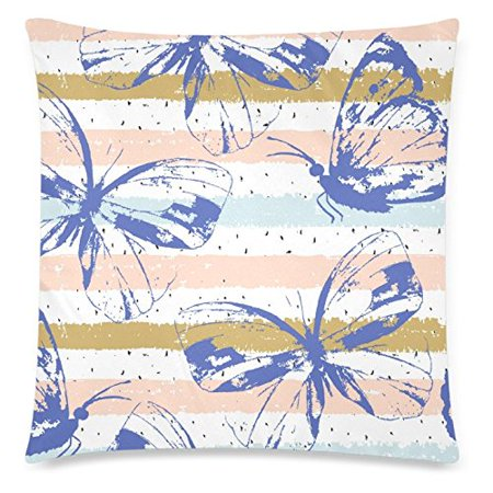 ZKGK Beautiful Blue Butterfly Home Decor, Abstract?Hand?Drawn?Stripped?Pattern Soft Pillowcase 18 x 18 Inches,Colorful Pillow Cover Case Shams Decorative