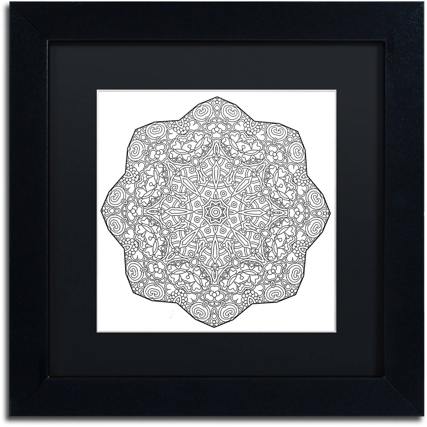 """Trademark Fine Art """"Mixed Coloring Book 15"""" Canvas Art by Kathy G. Ahrens, Black Matte, Black Frame"""