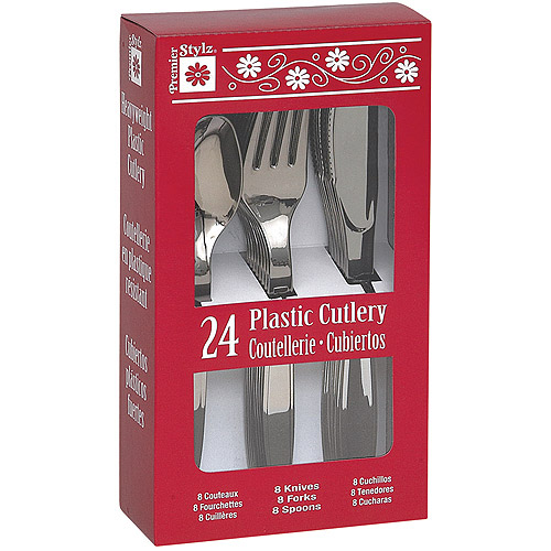 Silver Plastic Cutlery Set for 8 Guests (24pcs)