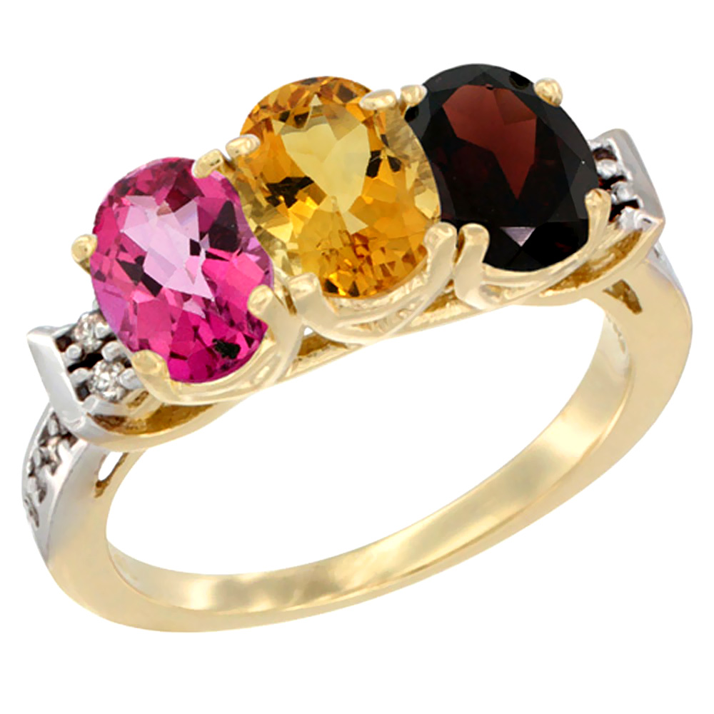 10K Yellow Gold Natural Pink Topaz, Citrine & Garnet Ring 3-Stone Oval 7x5 mm Diamond Accent, sizes 5 10 by WorldJewels