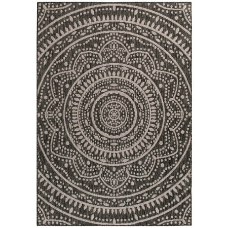 Mainstays Leia Grey Indoor/Outdoor Area Rug, Multiple Sizes (Outdoor Indoor Rug)