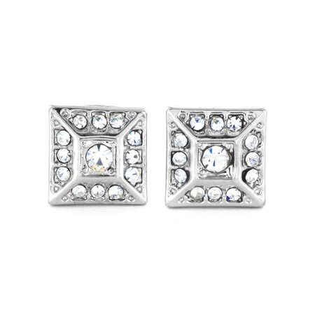 Silver Micro Pave Crystal Square Pyramid Stud Post Earring