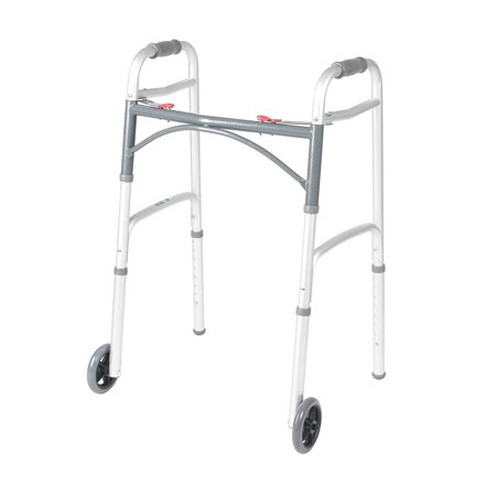 Deluxe Two Button Folding Walker with 5-Inch Wheels,Walmartes with wheels and a vinyl contoured hand grip By Drive Medical