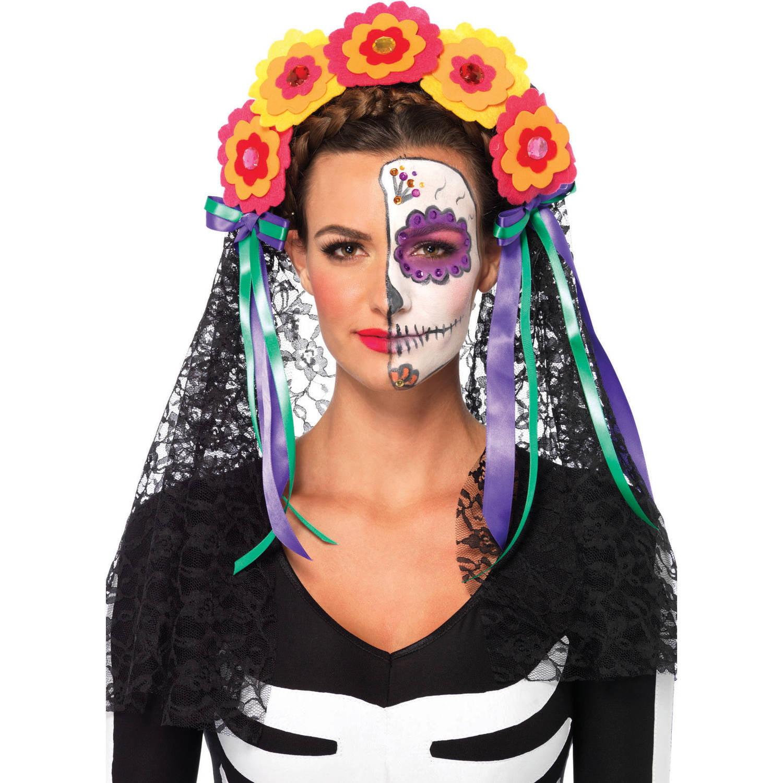 Leg Avenue Day Of The Dead Flower Headband Adult Halloween Costume ...