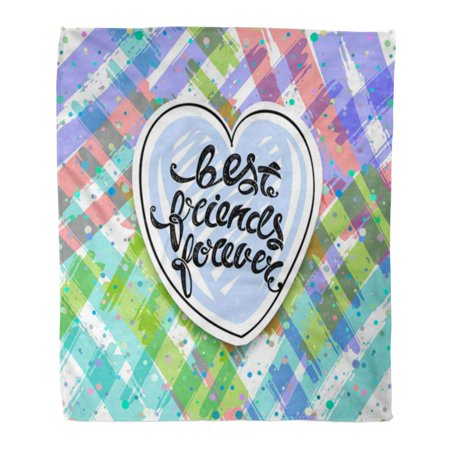SIDONKU Throw Blanket 58x80 Inches BFF Best Friends Forever Letters Day Applique Warm Flannel Soft Blanket for Couch Sofa (Best Friend Leaving Letter)