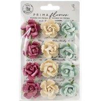 Prima Marketing Midnight Garden Pearlescent Paper Flowers-In The Dark, 12/Pkg