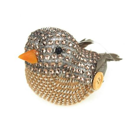 Miniature Bird Animal Holiday Winter Decor, Natural, 4-Inch (Firefly Winter)