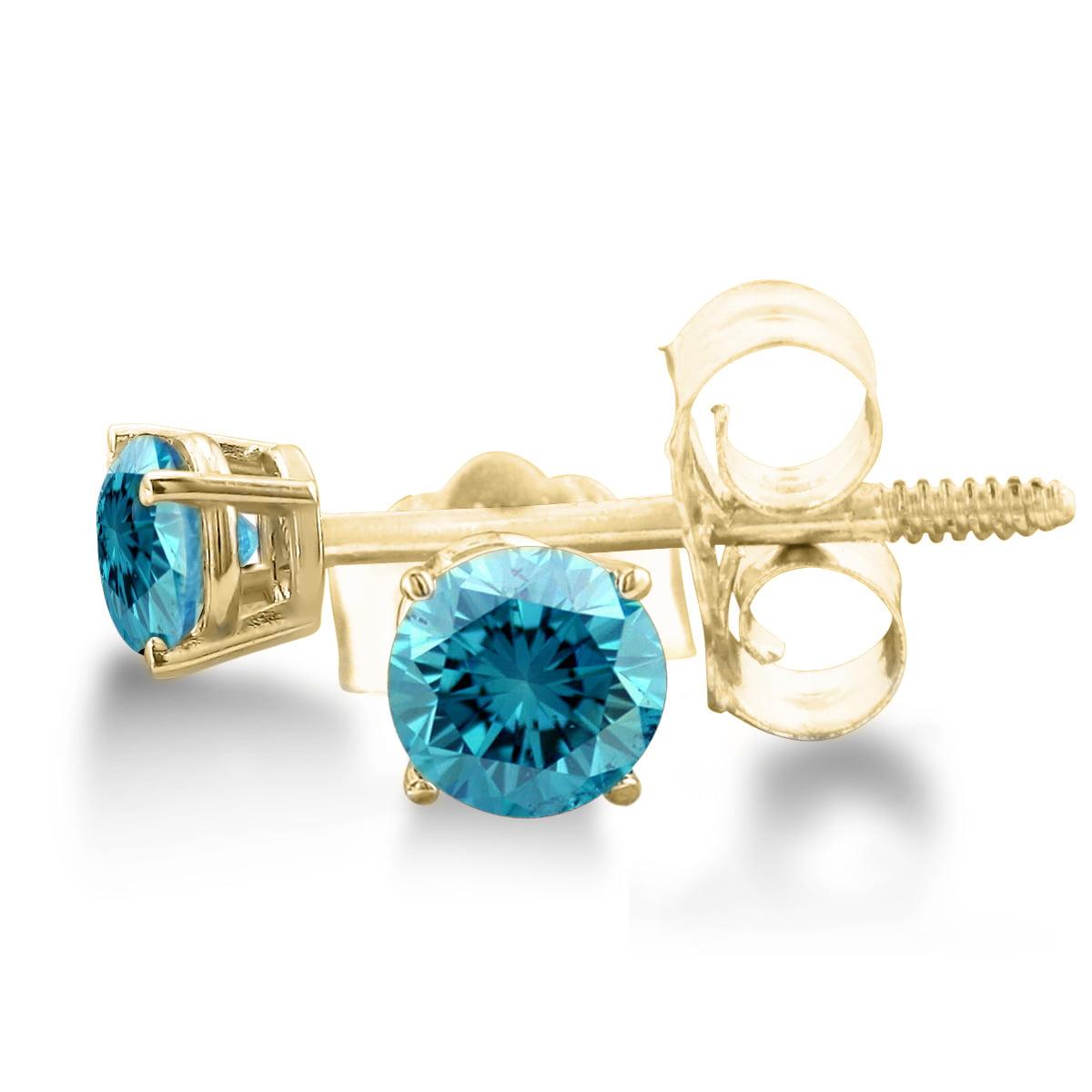 14K Yellow Gold Blue Diamond Stud Earrings 1/4ct tw