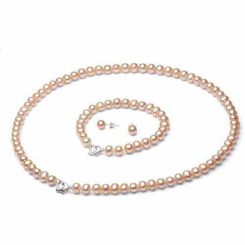 "9-10mm Pink Freshwater Pearl Heart-Shape Sterling Silver Necklace (18""), Bracelet (7"") Set with Bonus Pearl Stud Earrings"