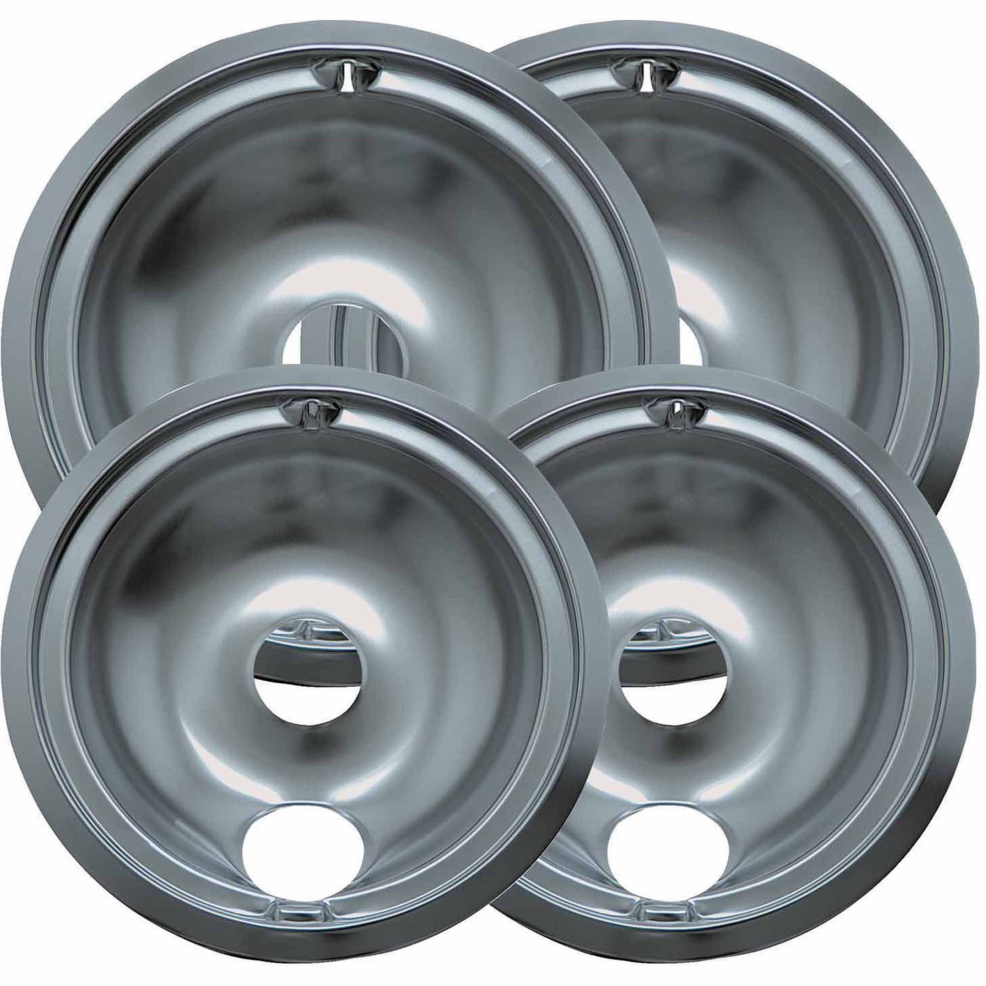Range Kleen 4-Piece Drip Bowl, Style B fits Plug-in Electric Ranges GE/Hotpoint/Kenmore/RCA, Chrome