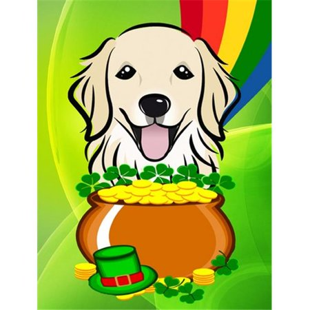 Golden Retriever St. Patricks Day Flag Garden