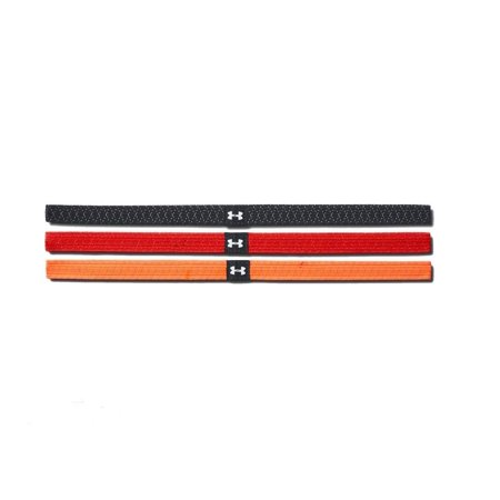 Under Armour Women's Reflective Mini Headbands - 3 Pack, Black (001) Red, Orange, One Size ()