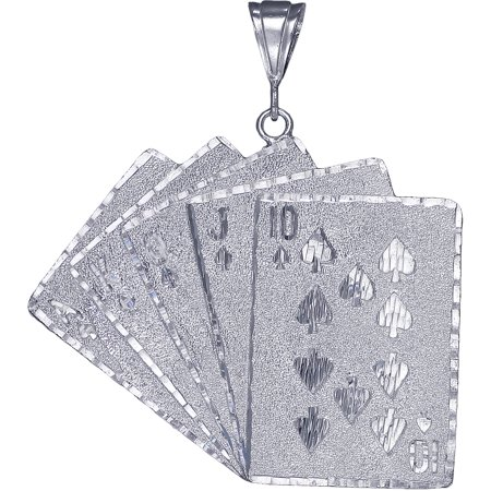 Huge Heavy Sterling Silver Royal Flush of Hearts Poker Charm Playing Cards Pendant Necklace 20 Grams 2.75 Inches with Diamond Cut Finish and 24 Inch Figaro Chain