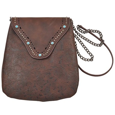 New Classic Womens Studded Leather Flap over Crossbody with Flower Print