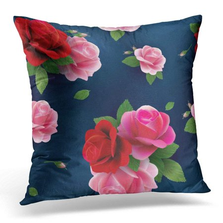 Red Floral Throw Pillow - CMFUN Blue Flower Elegant Abstract Floral Pattern with of Red and Pink Roses Colorful Accent Throw Pillow Case Pillow Cover Sofa Home Decor 16x16 Inches