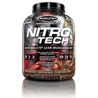 NitroTech Protein Powder Plus Muscle Builder, 100% Whey Protein with Whey Isolate, Decadent Brownie Cheesecake, 40 Servings (4lbs)