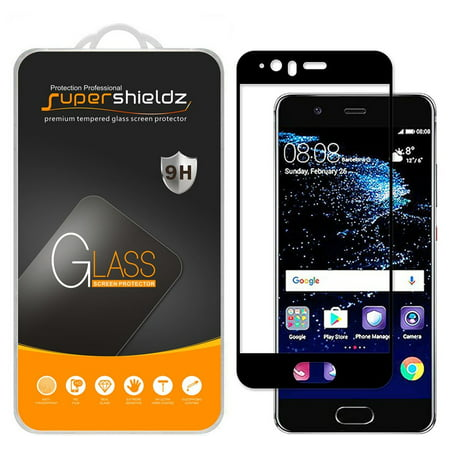 [2-Pack] Supershieldz for Huawei P10 [Full Screen Coverage] Tempered Glass Screen Protector, Anti-Scratch, Anti-Fingerprint, Bubble Free (Black Frame)](huawei p10 plus screen protector)