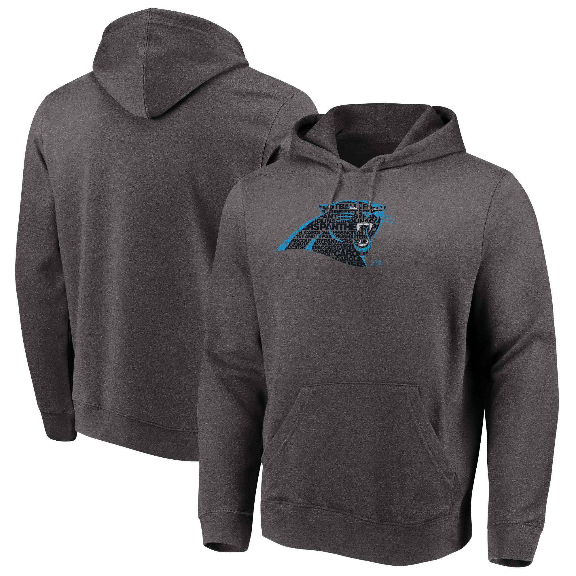 Carolina Panthers Majestic Big & Tall Line of Scrimmage Pullover Hoodie - Heathered Charcoal