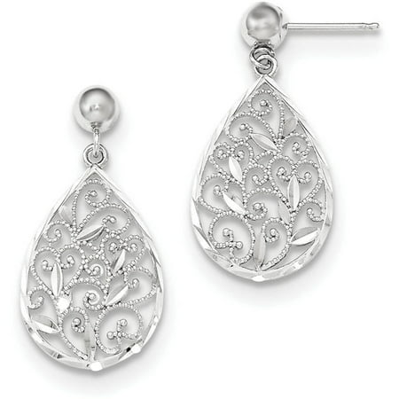 14kt White Gold Polished Filigree Teardrop Post Dangle Earrings