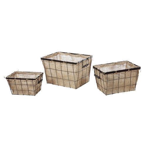 Creative Co-Op Metal Basket with Burlap Liner (Set of 3)