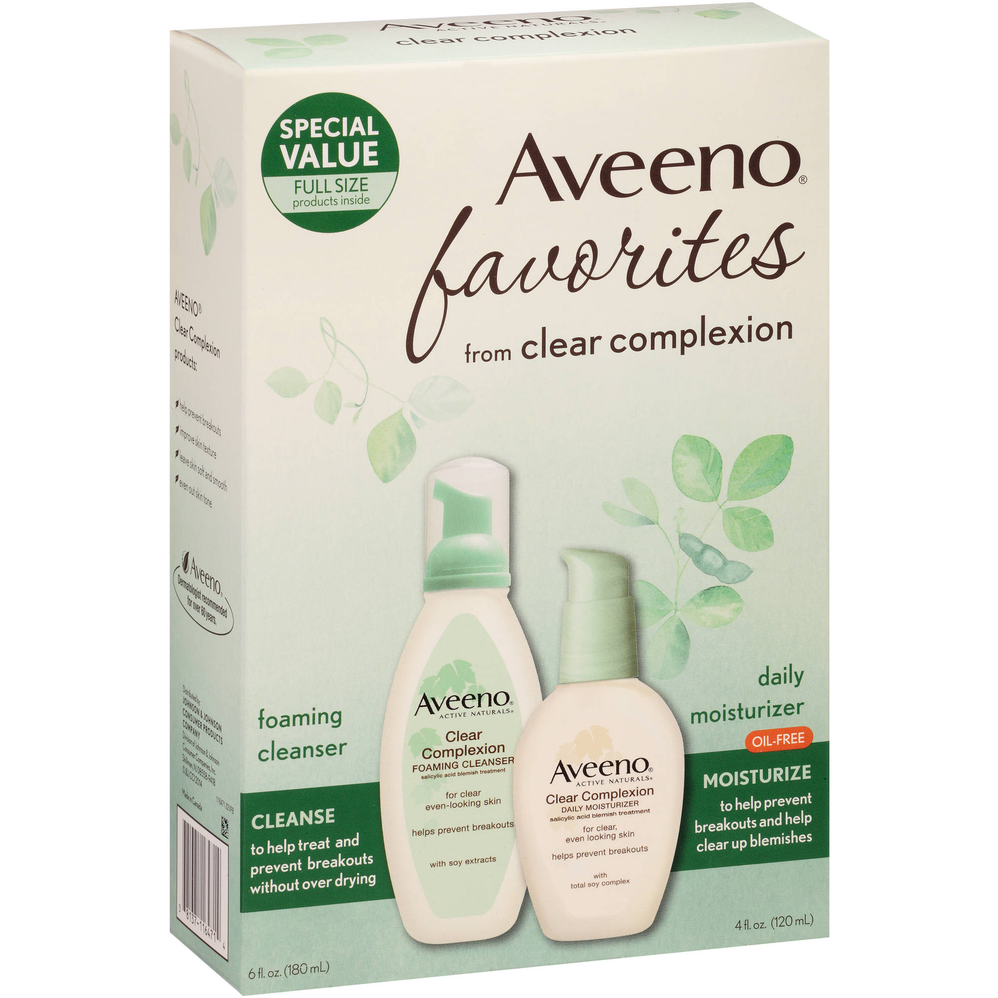 Aveeno Favorites Clear Complexion Foaming Cleanser & Daily Moisturizer Set, 10 fl oz
