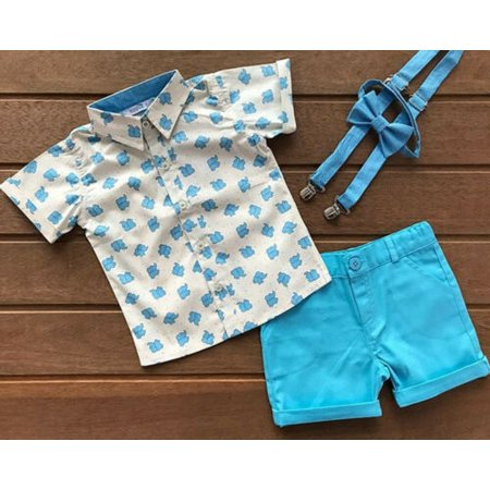 Pudcoco 2PCS Kids Baby Boy Gentleman Clothes Elephant Tops Shorts Outfits Set Summer