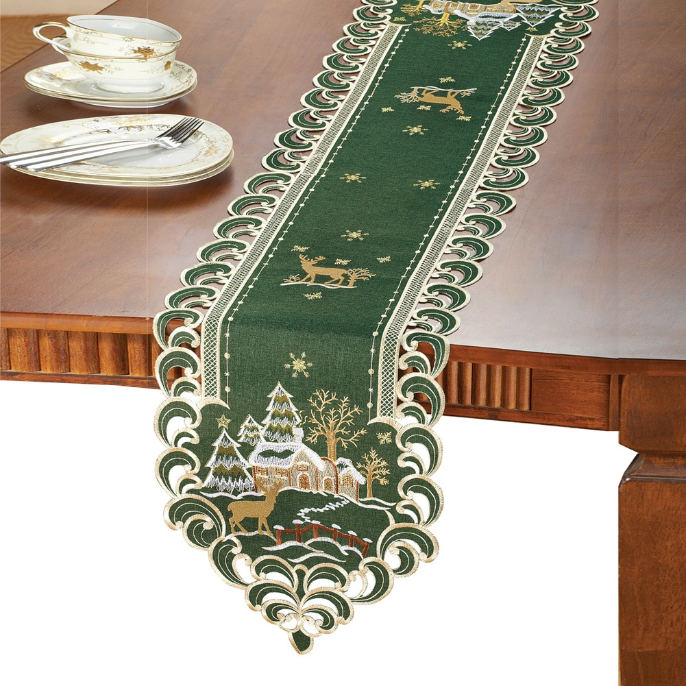 Elegant Winter Cabin Green Christmas Table Linens, Runner by Collections Etc