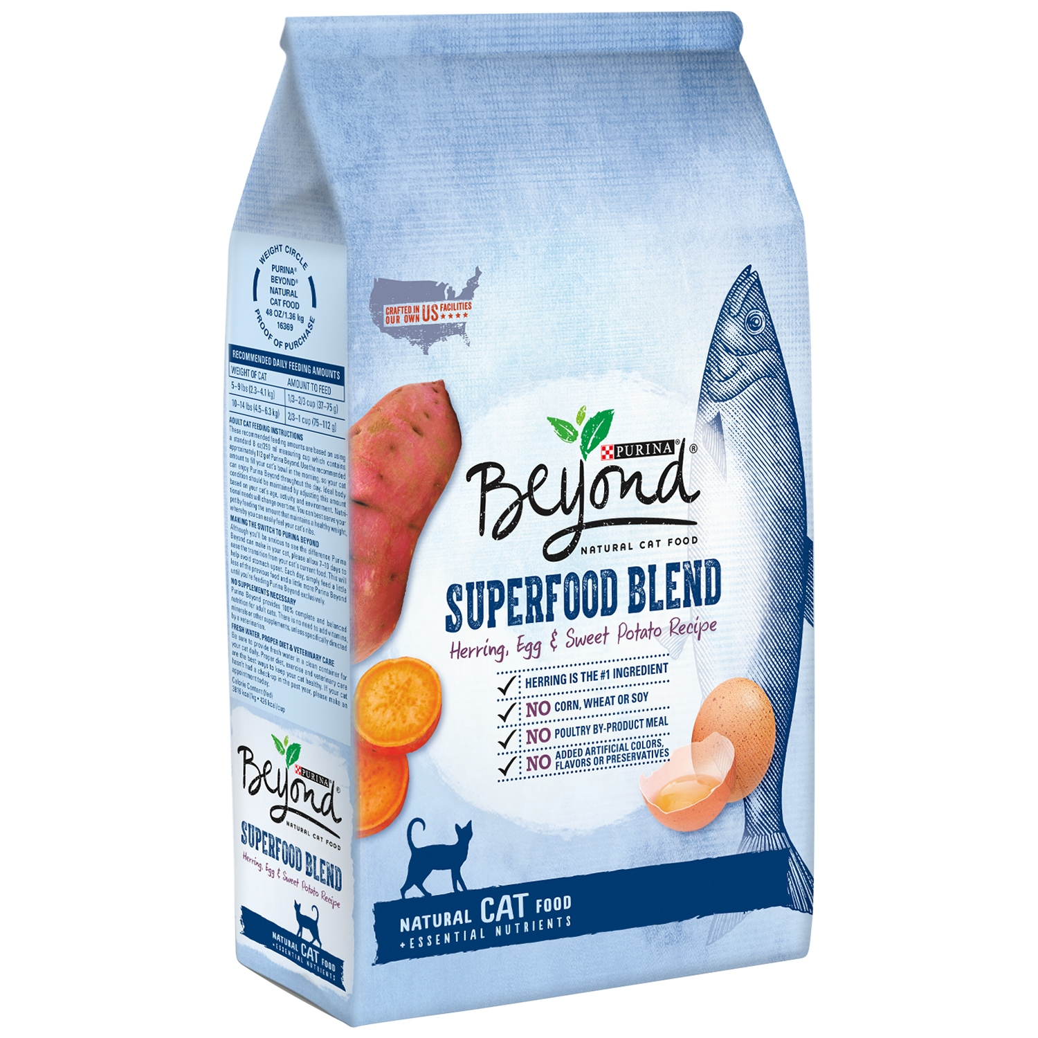 Purina beyond superfood, blend herring, egg & sweet potato recipe dry cat food, 3 lb