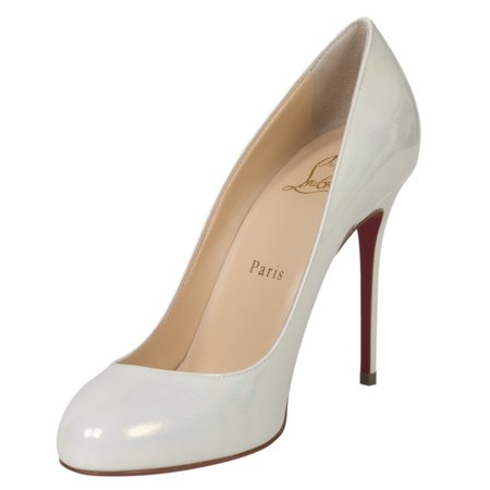 quality design cd338 4674a Christian Louboutin Fifi Iridescent Pearl White Patent Leather 100mm Pumps