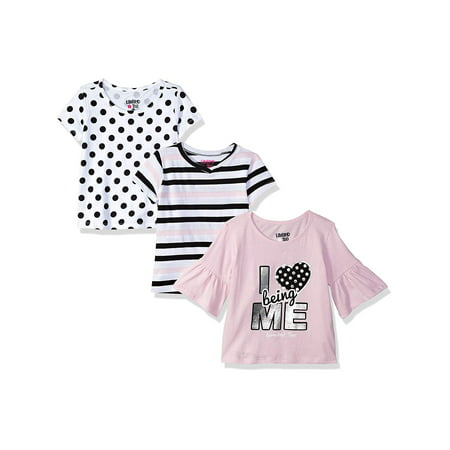 Girls Solid Ruffle (Ruffled Sleeve Graphic, Print and Solid Tees, 3-Pack (Little Girls & Big)