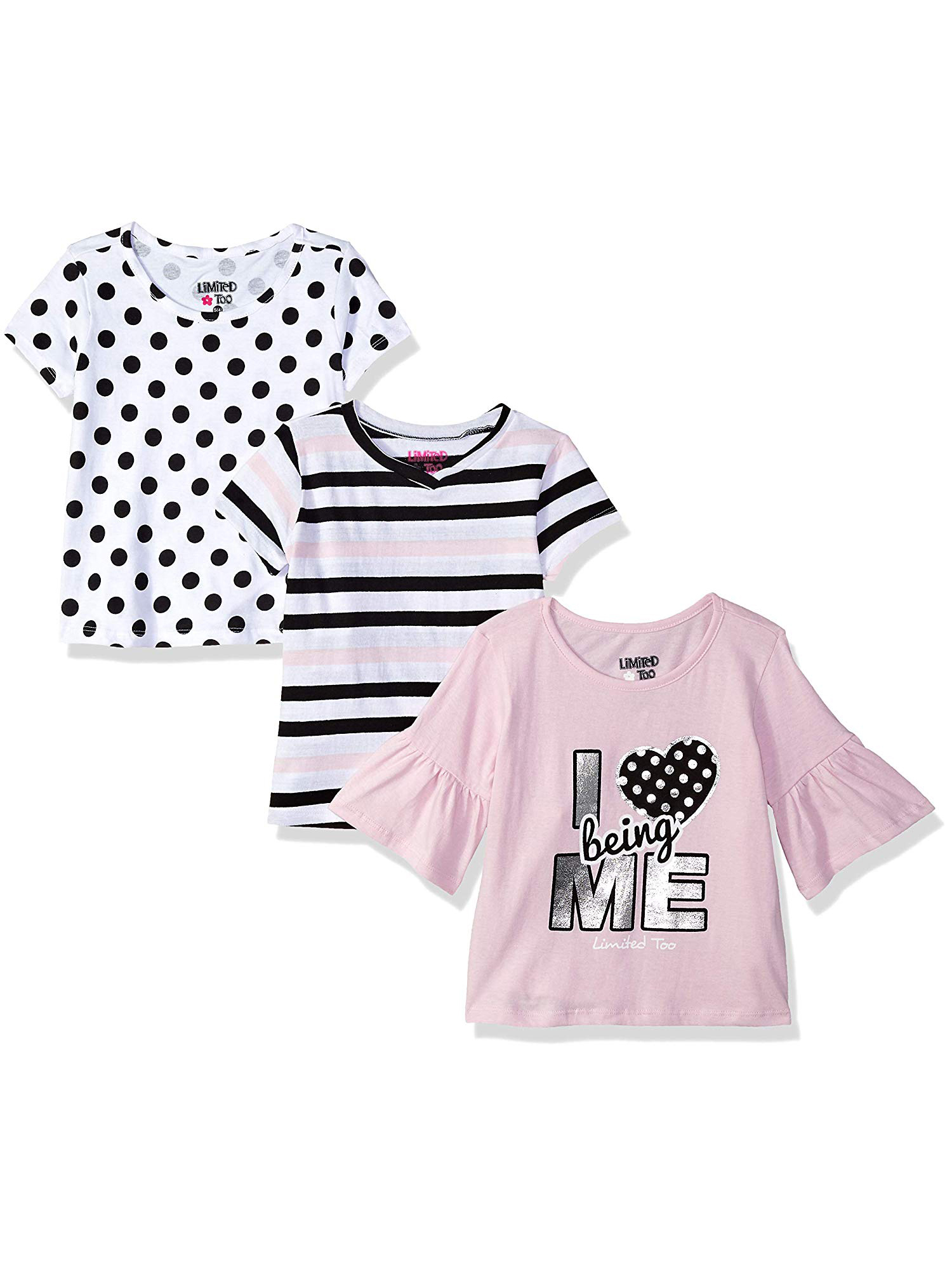 Ruffled Sleeve Graphic, Print and Solid Tees, 3-Pack (Little Girls & Big Girls)