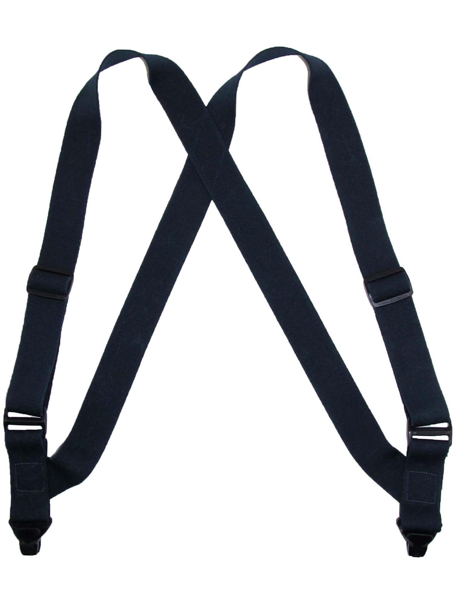 Black Elastic Plastic Clip-End TSA Compliant Airport Suspenders USA Made