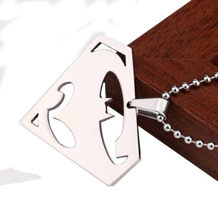 Batman Superman Stainless Steel Pendant Necklace with Bead Chain Superhero Jewelry  J-249