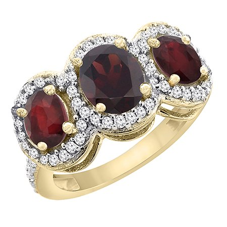 - 10K Yellow Gold Natural Garnet & Enhanced Ruby 3-Stone Ring Oval Diamond Accent, size 6.5