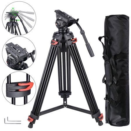 "71"" Professional Camera Tripod Portable DV Video Steady Stand Fluid Damping Head Kit with Carry Bag 22lbs Capacity"