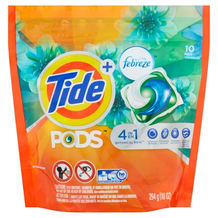 Tide Pods Plus Febreze Odor Defense Laundry Detergent Pacs  Botanical Rain Scent  10 Count