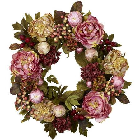 - Nearly Natural Peony Hydrangea Wreath
