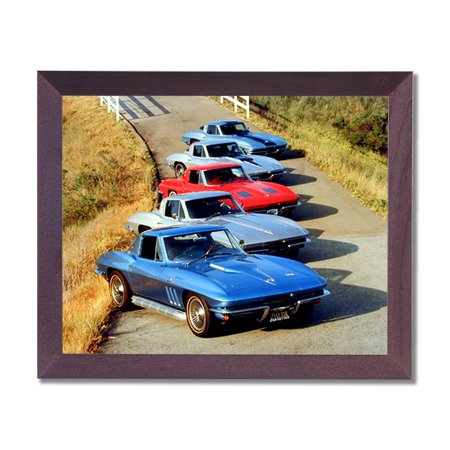 Chevy Corvette Cars Club Room Wall Picture Cherry Framed Art