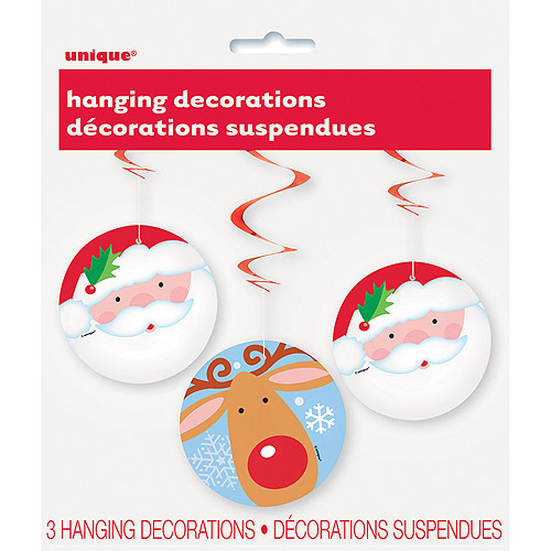 "26"" Hanging Swirl Santa and Reindeer Christmas Decorations, 3-Count"