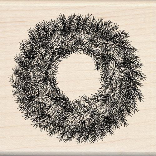 "Inkadinkado Christmas Mounted Rubber Stamp-Evergreen Wreath 3""X3"""