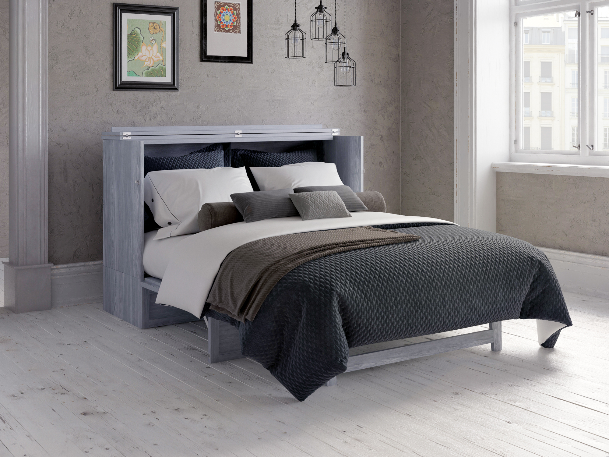 Deerfield Murphy Bed Chest Queen Driftwood With Charging