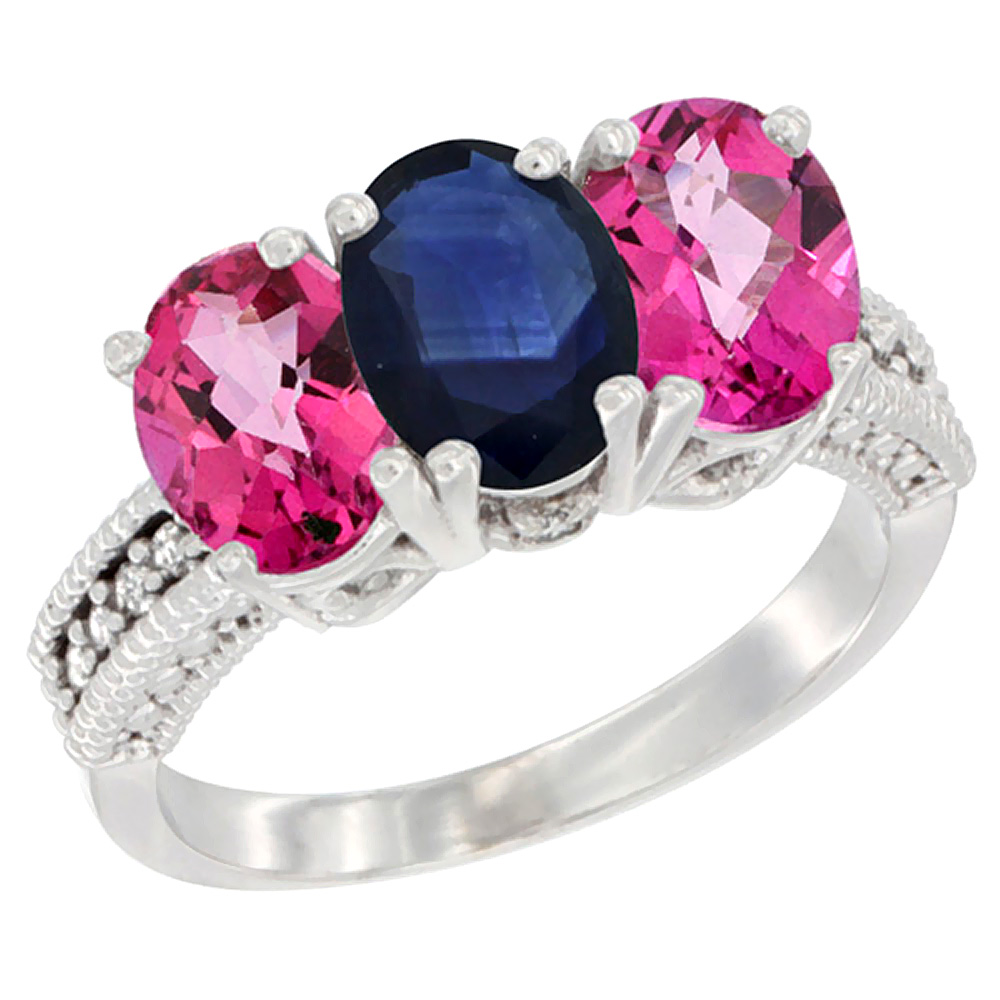 14K White Gold Natural Blue Sapphire & Pink Topaz Ring 3-Stone 7x5 mm Oval Diamond Accent, sizes 5 10 by WorldJewels
