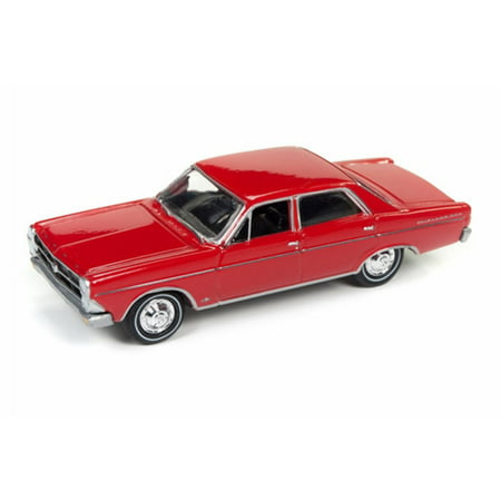 1966 Ford Fairlane Sedan, Signal Flare Red - Round 2 JLCG007/12A - 1/64 Scale Diecast Model Toy - 1966 Fairlane Convertible