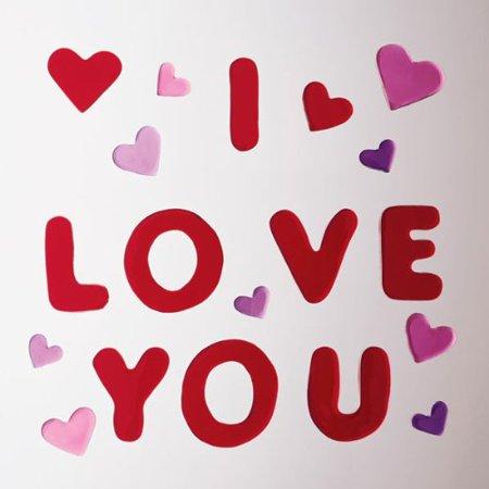 I love You Hearts Gel Gem Window Clings (30