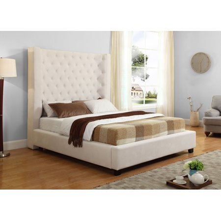Best Master Furniture Jamie Upholstered Tower Low Profile Bed, Cream Queen