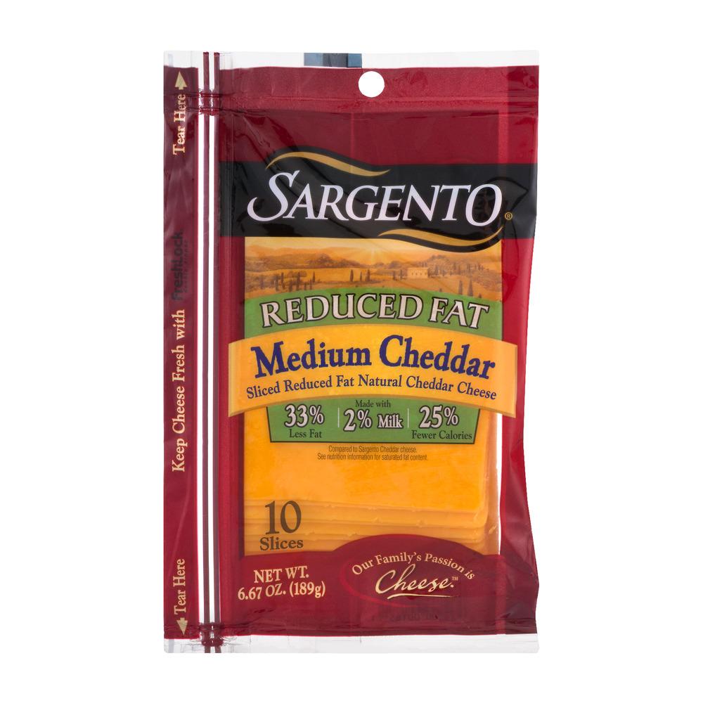 Sargento® Sliced Reduced Fat Medium Cheddar Cheese - 6.67 oz, 6.67 OZ