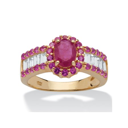 3.15 TCW Oval-Cut Genuine Ruby and White Topaz Ring in 14k Gold over Sterling